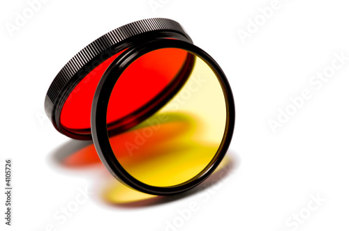 red and yellow photographic filters projecting colorful light