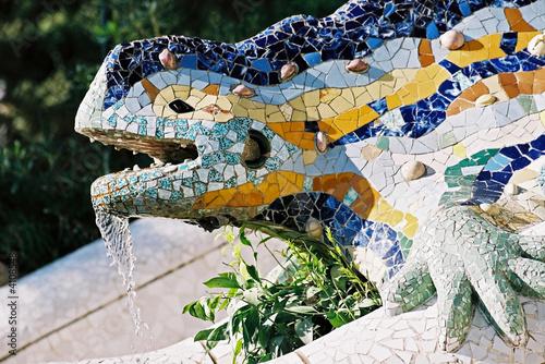 Foto op Canvas Barcelona lizard fountain, barcelona