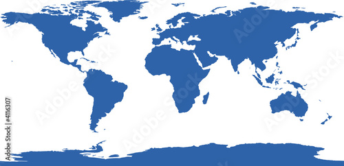 In de dag Wereldkaart carte du monde à plat unie bleue