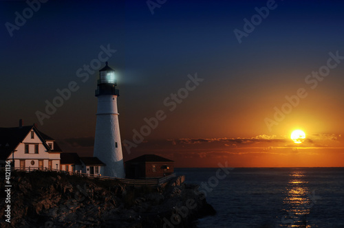 Lighthouse at dawn Canvas
