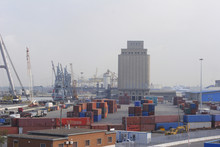 Freight Containers On Dockside