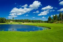 Golf Fairway Along A Pond