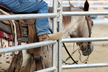 Cowboy Boot On Railing