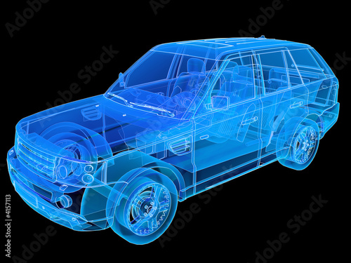 Canvas Print Perspective illustration of a Range Rover.