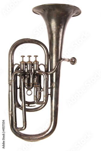 Antique Baritone Horn, White iso Canvas Print
