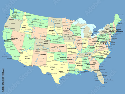USA map with names of states and cities