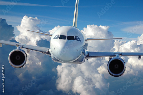 Commercial Airliner in Flight Wallpaper Mural