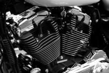 Gros Plan Sur Le Moteur D'une Moto De Grosse Cylindrée