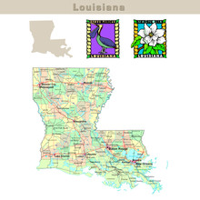 USA States Series: Louisiana. Political Map With Counties