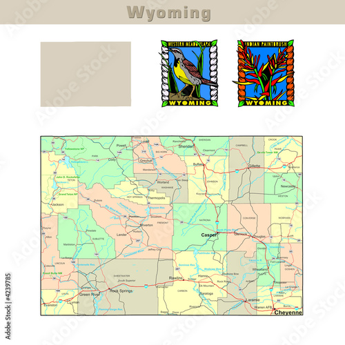 USA states series: Wyoming. Political map with counties ...