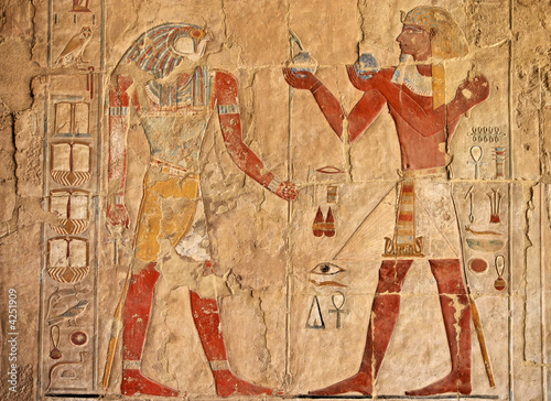 Foto op Aluminium Egypte ancient egyptian fresco