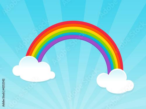 Foto-Stoff - happy rainbow over blue sky (von C Claudia)