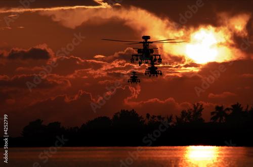 Türaufkleber Hubschrauber Apache helicopter formation