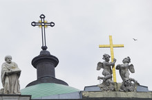 Sculptures On The Roof Of Christian Cathedral