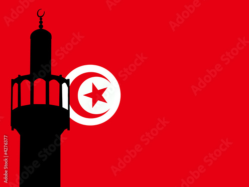 Minaret with Tunisian Flag Fototapet