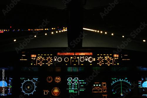 Fotografie, Obraz  aircraft landing at night with runway ahead