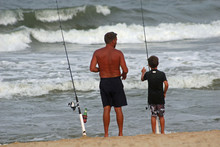 Father And Son Fishing On The ...