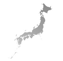 Detailed Isolated Gray Gradient Map Of Japan