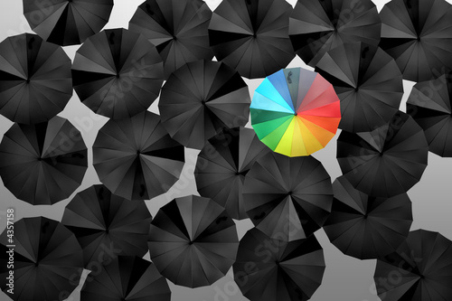 Photo Parapluies noirs parapluie multicolore