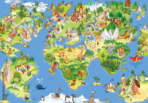 Plakat w ramie Great and funny world map