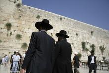 Hasidic Jews At The Wailing Western Wall,  Israel