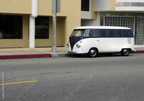 Classic Camper Van on LA street Canvas Print