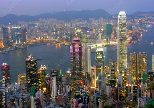 Poster Hong-Kong Blick auf Hong Kong am abend
