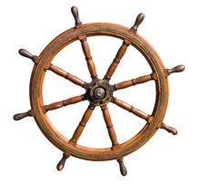 Old Seasoned Boat Steering Whe...