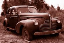 Antique Sepia Car