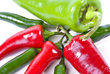 Close-up Of Red And Green Peppers