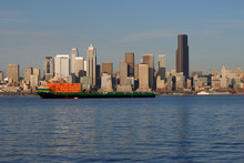 Ship In Front Of Downtown Skyline