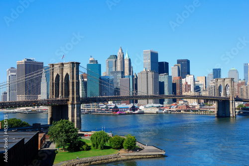 Aluminium Prints Brooklyn Bridge New York City Skyline and Brooklyn Bridge