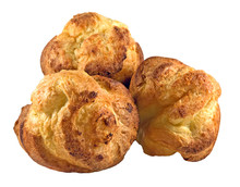 Isolated Baked Popovers On White.