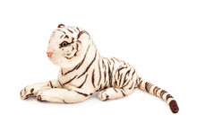 Black-and-white Striped Tiger Plush Toy, Isolated With Path
