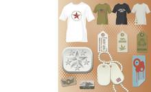 Mans Fashion Elements, T-shirt, Buckle, Dog Tag, Stickers