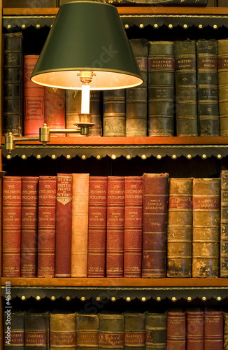 Lots Of Old Books On A Bookshelf With Lamp In Library