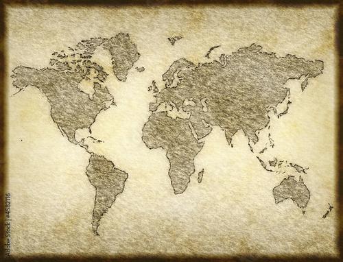 Tuinposter Wereldkaart old map