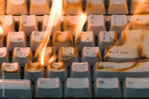 Fotografia, Obraz  The burning keyboard