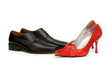 Black And Red Shoes Isolated On White