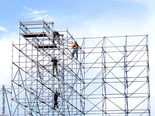 Fotografie, Obraz Steeplejacks on a scaffold