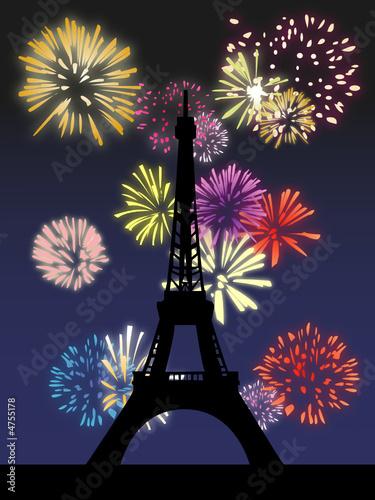 Photo Stands Eiffel Tower Feu d'artifice à la Tour Eiffel - Illustration