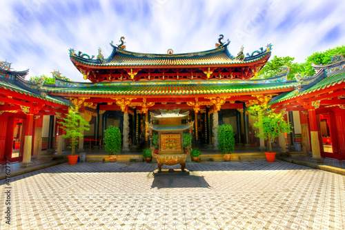 Garden Poster Temple Chinese temple courtyard