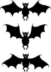 Bat. A vector illustration. A contour. White background.