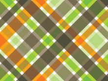 Retro Orange Green Brown Plaid Pattern