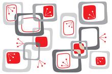 Cherry Red Retro Squares Pattern