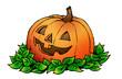 canvas print picture - Halloween Kürbis