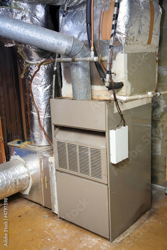 Old and dirty gas furnace Canvas Print