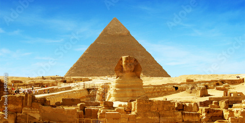 In de dag Egypte Great Sphinx of Giza - panorama