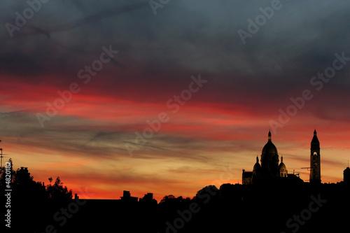 Poster Rome coucher de soleil, montmartre, Paris