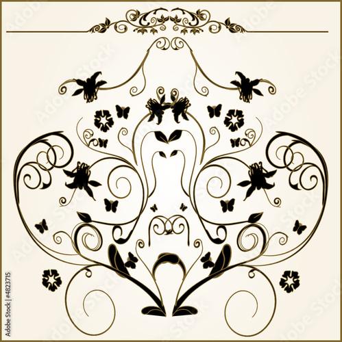 Printed kitchen splashbacks Butterflies in Grunge lots of design floral vector frame elements